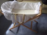 """Clair de Lune Babies Moses Basket (with all """"trimmings"""")"""