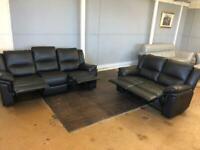 Harvey's black leather recliner sofa