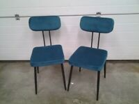 New Bargain. Pair Dining chairs. Teal padded velvet / black metal. Can deliver. (no table)