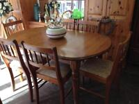 Solid pine table and six chairs made by ducal