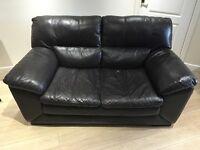 Two seater dark chocolate leather sofa x 2