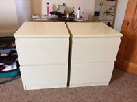2x cream bedside tables excellent condition