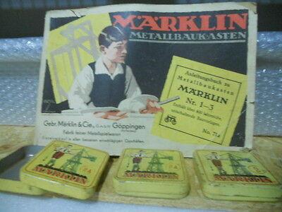 1 METALLBAUKASTEN N°71a MARKLIN p.138 + 3 SCATOLExVITERIA USATO COME da FOTO