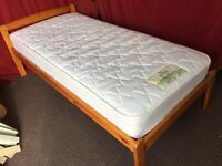 SOLID PINE SINGLE BED WITH MATTRESS,CAN DELIVER
