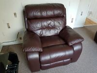 Brown Leather Electric Recliner Chair - Moreno
