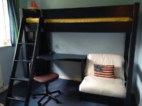 Aspace 'Warwick' High Sleeper Bed with Desk and Futon - Prussian Blue