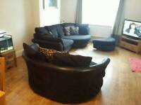 Large 3 seater curved sofa and cuddle chair and pouffe