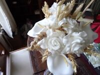 small country style silk and hessian bridal bouquet