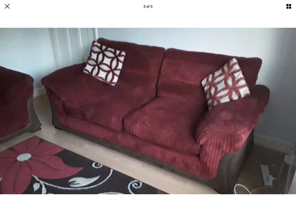 LOVELY BURGUNDY JUMBO CORD FABRIC 3 SEATER AND 2 SEATER SOFAS WITH BROWN LEATHER TRIM