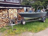 Boat (day fishing boat) 10hp Honda outboard, fish finder 5 rod stands, trailer with electric winch.
