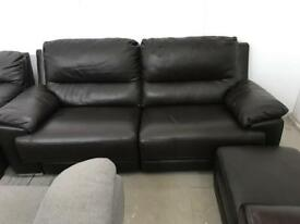 DFS dark brown leather electric reclining 3 seater sofa with matching footstool