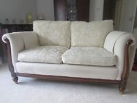 Louis XV style reproduction 2 seat sofa cream fabric wood frame excellent condition smoke free home