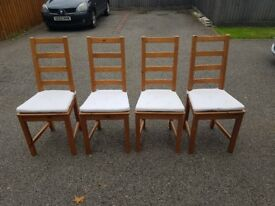 4 Ikea Solid Wood High Ladder Back Chairs FREE DELIVERY 012