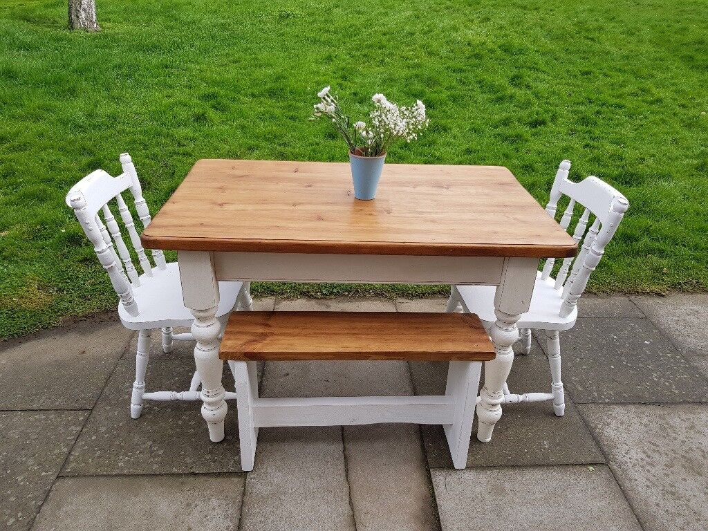 Rustic White Farmhouse Kitchen Dining Table Bench 2 Chairs 122x75cm Shabby Chic