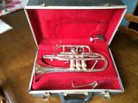 Boosey and Hawkes Imperial Silver Cornet with case, mouthpiece and lyre
