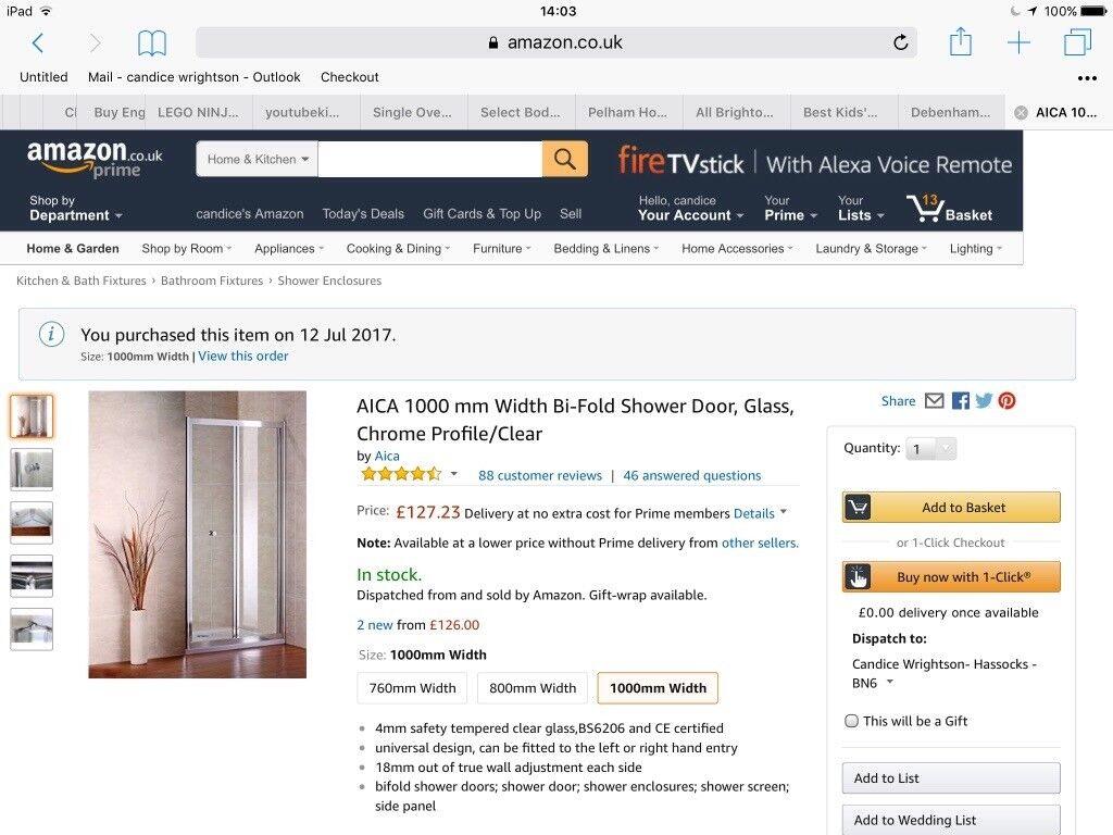 AICA 1000 mm Width Bi-Fold Shower Door, Glass, Chrome Profile/Clear