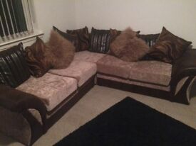 Nearly new brown corner couch