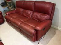 3-Seater Settee, Maroon Soft Leather with Electric Recliners, very Comfortable and Supportive.