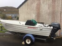 Lightly used Pioneer 13 with centre console steering and 15HP Yamaha F15CES