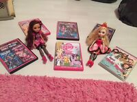 Girls DVDs Monster High, My Little Pony, Barbie plus 2 x Ever After High Dolls