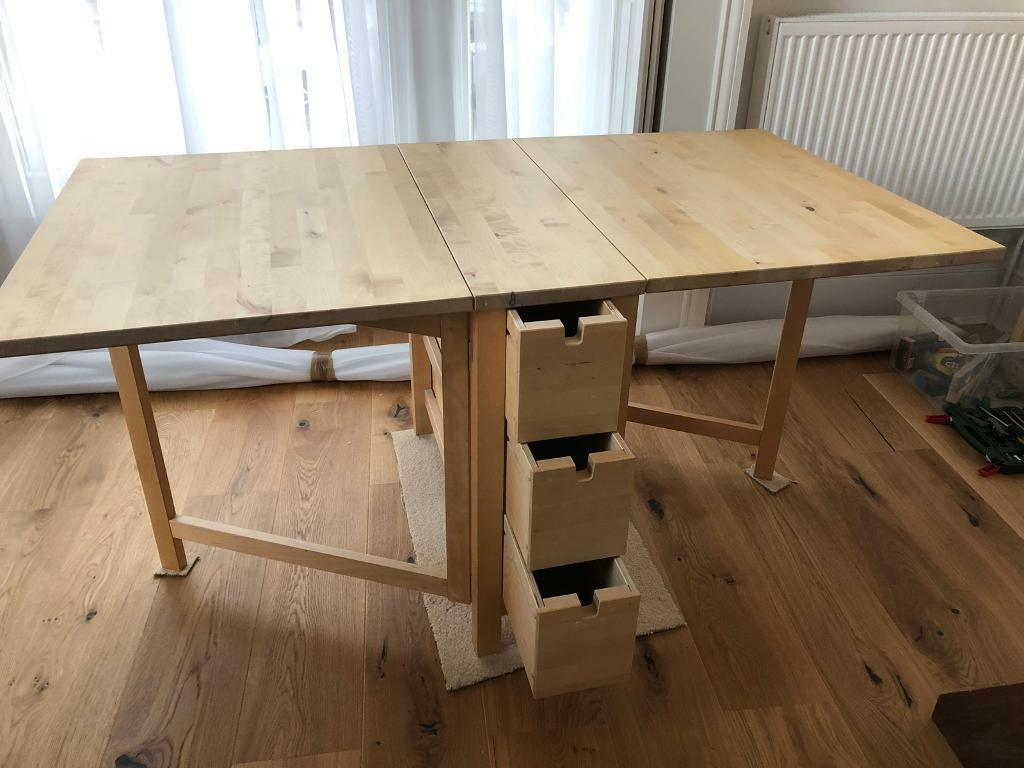 Ikea Norden Gateleg Table Folding Table With Drawers In