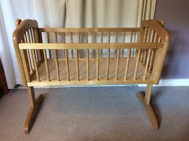 Mothercare swinging cot bed with mattress
