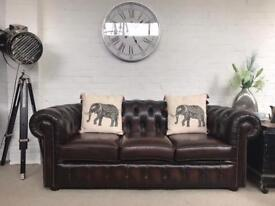 Rich brown 3 seater Chesterfield sofa. Can deliver.