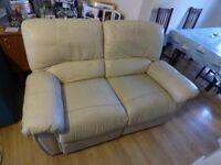 Cream recliner sofas (2 seater + 1 seater)