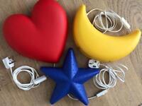 +++ IKEA +++ HEART + MOON + STAR +++ SMILA +++ wall lights + set of 3! +++ child bedroom +++