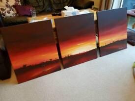 Pete Rumney Original - Crimson Skies Painting - 3 Canvases