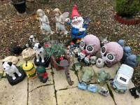 Assorted garden ornaments.