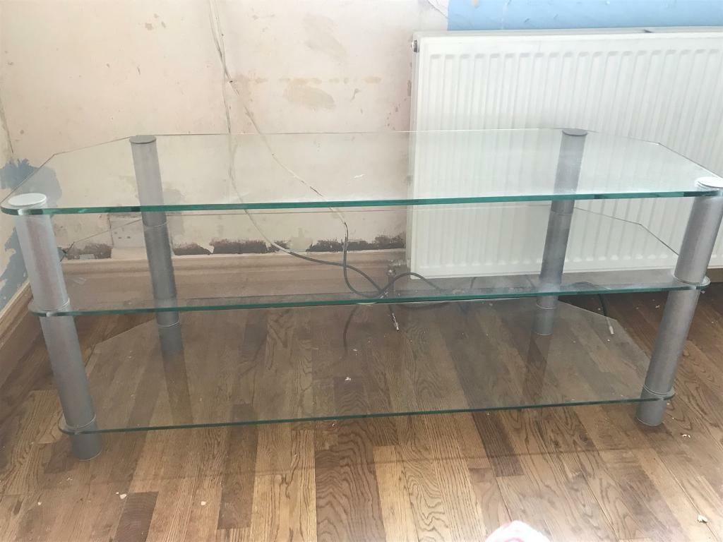 Glass tv table cabinet stand. Perfect condition.