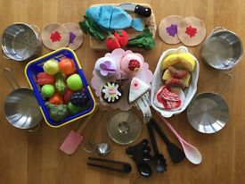 Play food, pots, pans and kitchen utensils