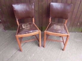 Chairs 2 x Brown Leather Project Dining Chairs Delivery available