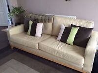 LOOK NO FURTHER - LOVELY MULTI-YORK LEATHER CREAM SOFA AND TWO CHAIRS