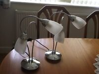 2 Table Lamps. Each Lamp has 2 glass shades excellent condition