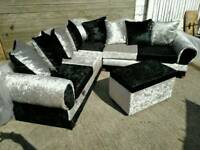 Brand New Black & Silver Crushed Velvet Corner Sofa & Pouffe Unused Can Deliver