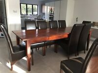 LOMBOK DINING TABLE AN 10 LEATHER CHAIRS COLL FROM HA7