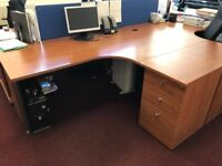Set of office desks with matching cupboards