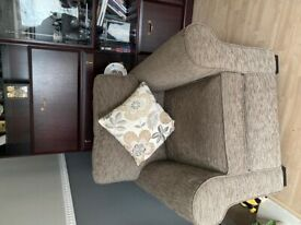 Brown/beige 2seater sofa and matching armchair