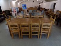 Beautiful Large Rustic Solid Pine Table With 10 Chairs
