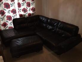 Black Italian Leather Corner Sofa & Foot Stool