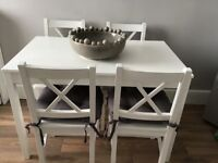 White dinning table chairs