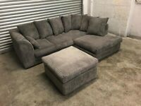 FREE DELIVERY GREY CORD FABRIC L-SHAPED CORNER SOFA & FOOTSTOOL GREAT CONDITION