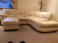 Cream leather corner sofa with matching foot foot stool