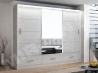 🚚🚛GET YOUR ORDER TODAY🚚🚛 NEW MARSYLIA 3 OR 2 DOOR SLIDING WARDROBE BLACK OR WHITE HIGH GLOSS