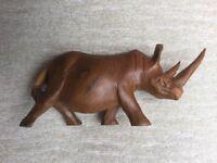 Vintage carved wooden rhino figurine