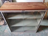 Heavy Duty Metal Glass Storage/Filing Cabinet with wooden top - £10