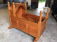Solid pine vintage babies cradle
