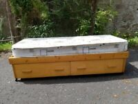 Wooden single bed with drawers - narrow small frame - mattress included
